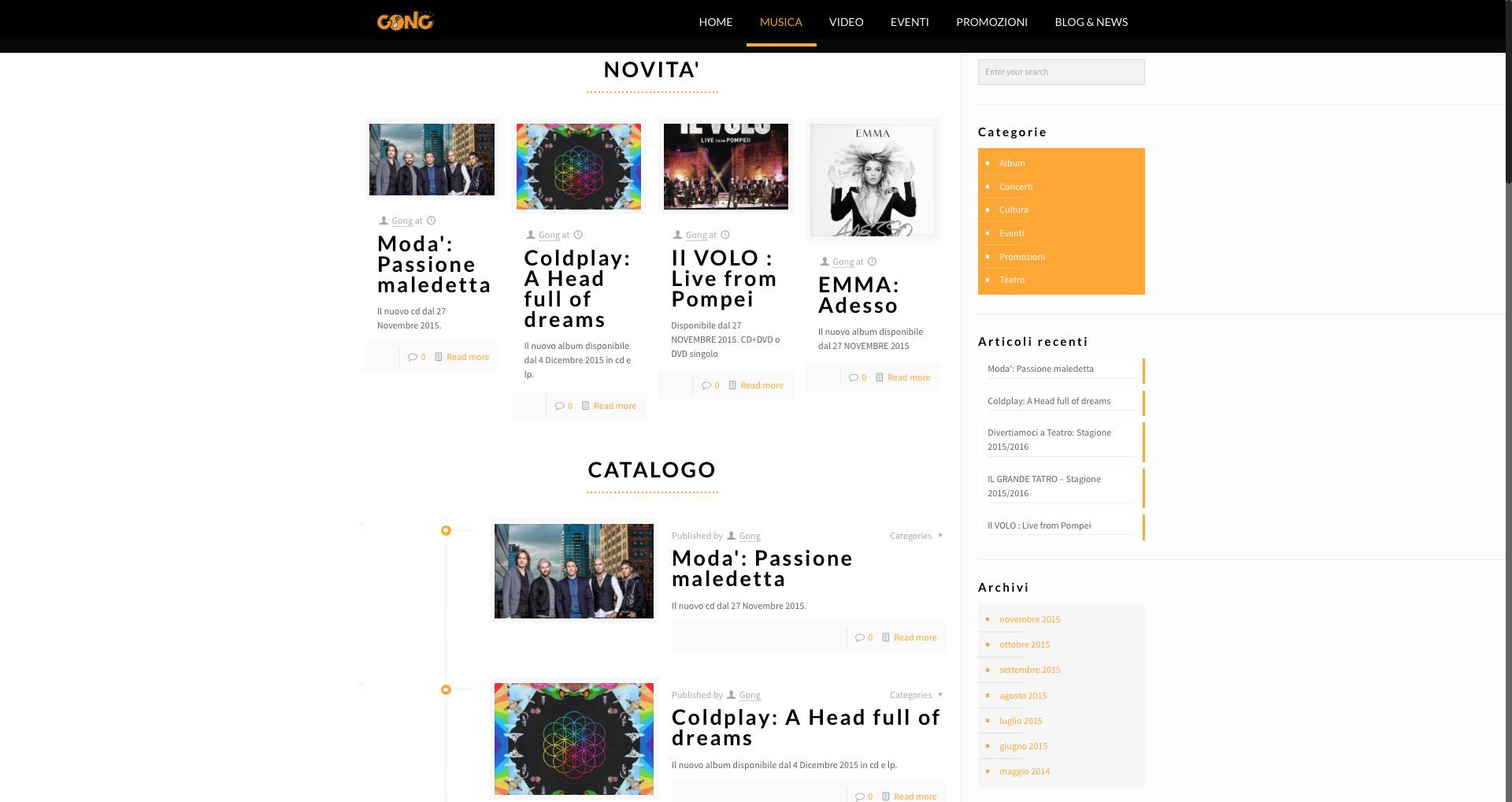 Sito web Gong - Ultime novità e Catalogo musicale