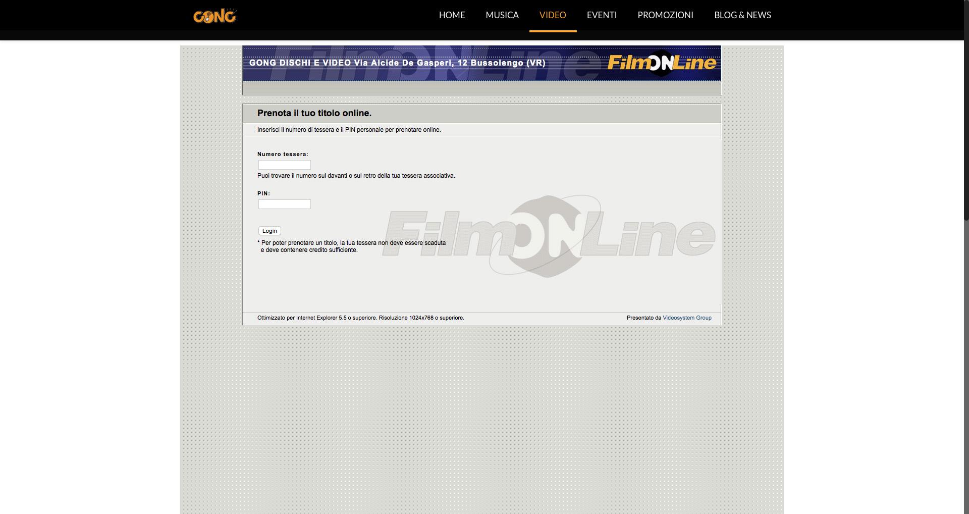 Sito web Gong - Prenotazione noleggio DVD