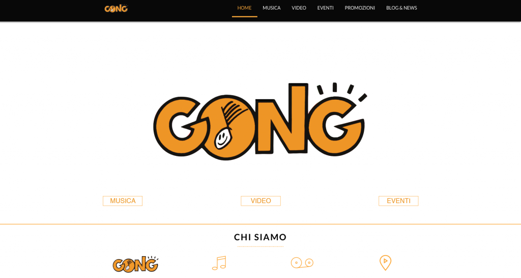 Sito web Gong - Home page